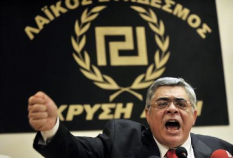 Il grassone palesemente ariano (un Borghezio versione ellenica) fondatore del gruppo neonazista.