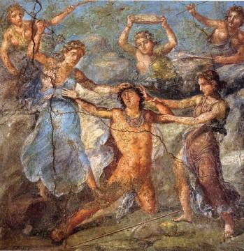 Penteo mentre viene simpaticamente squartato dalla Baccanti. Casa dei Vettii, Pompei.