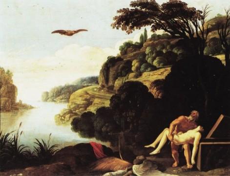 Carlo Saraceni, Seppellimento di Icaro, Napoli, Museo Nazionale di Capodimonte, olio su rame, 1606-7