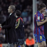 Barcelona´s coach Pep Guardiola (L) and