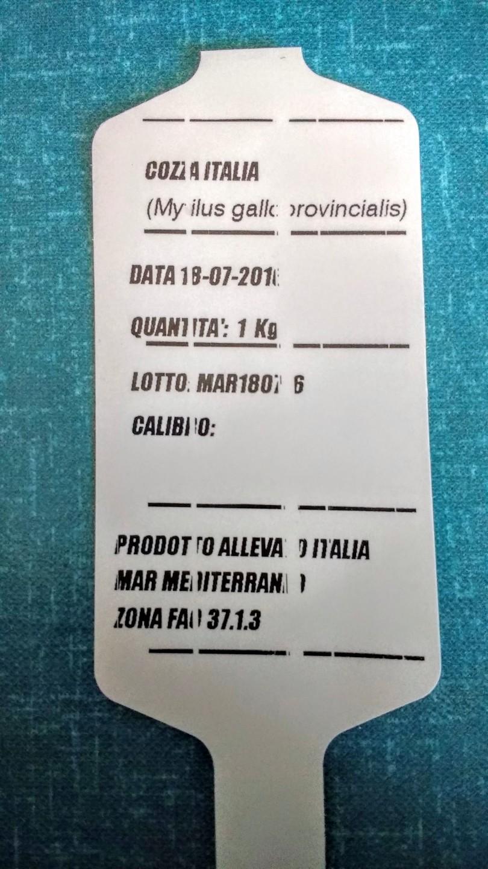 Esempio di etichetta, come potete vedere dalla data impressa sono state pescate la mattina stessa dell'acquisto, il top.
