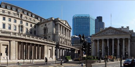 Bank of England, situata nella city di Londra.