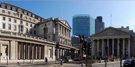Bank of England, situata nella city di Londra.