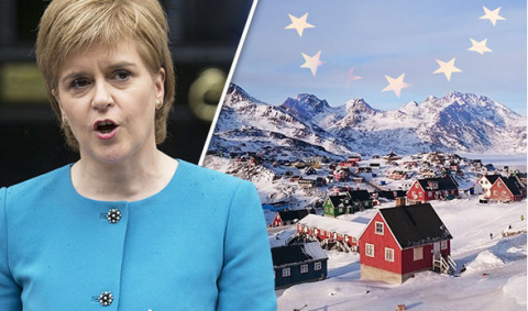 """Un'immagine di Nicola Sturgeon e della Groenlandia: il primo ministro scozzese ha espresso interesse nei confronti della proposta di Ulrik Pram Gad di seguire una """"reverse Greenland"""" per alcuni membri dello UK."""