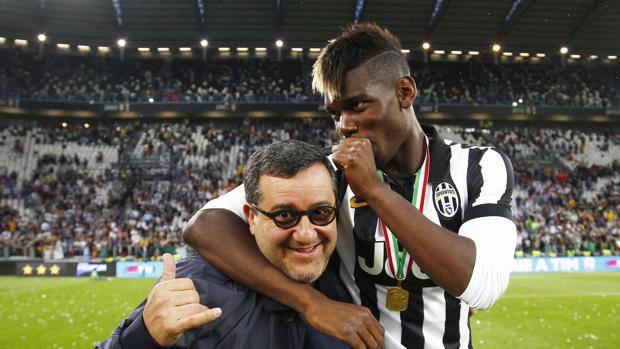 Mino Raiola ed il suo assistito Paul Pogba, foto di LaPresse