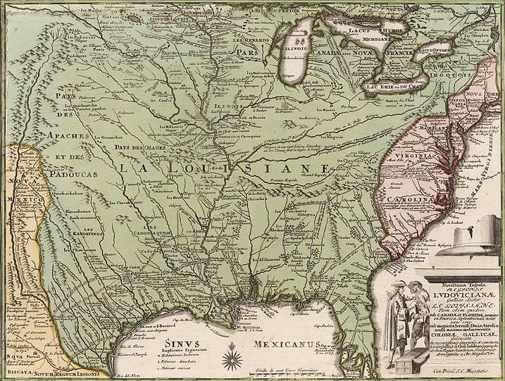 Mappa promozionale della Louisiana stampata per sostenere la campagna di marketing della Compagnia del Mississippi in Germania