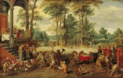 Jan Brueghel the Younger, Satira sulla Tulipomania. Le persone diventano scimmie sottolineando l'irrazionalità dell'evento.