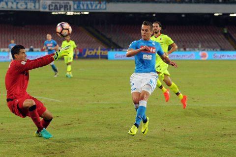L'espressione illuminata di Milik mentre sigla il 2-1 - FOTO: account ufficiale Twitter SSC Napoli