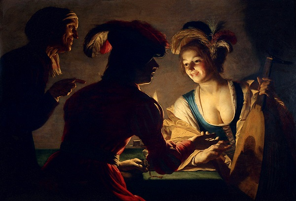 Gerard van Honthorst (Gherardo delle Notti), La sensale, 1625