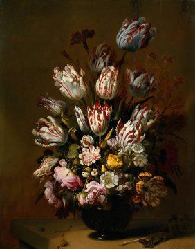 Hans Gillisz. Bollongier, Fiori. Questo quadro sottolinea che la bolla dei tulipani si verificò nella realtà.