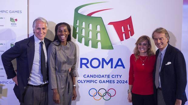 Gli ambasciatori di Roma 2024 Luca Cordero di Montezemolo e Giovanni Malagò con Fiona May e Diana Banchedi, foto: lapresse