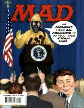 Copertina di Mad Magazine (famosa rivista umoristica americana) che ironizza sulla paranoia del america post-11 settembre