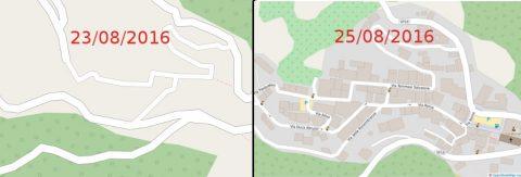 Mappa di Accumoli prima e dopo il terremoto.