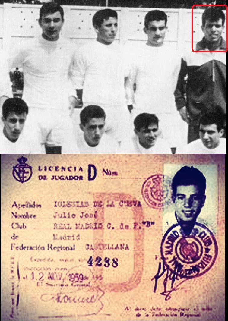 Julio Iglesias ed il documento che prova la sua appartenenza al Real Madrid B