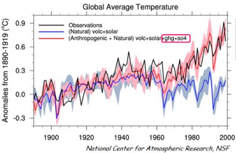 Aumento della temperatura mondiale con e senza il contributo umano. Il riscaldamento globale ormai è un fatto assodato non un'opinione. (NSF)