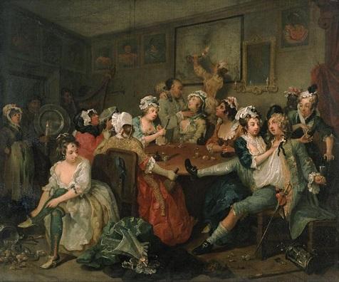 William Hogarth, La Carriera di un Libertino - L'orgia, 1732