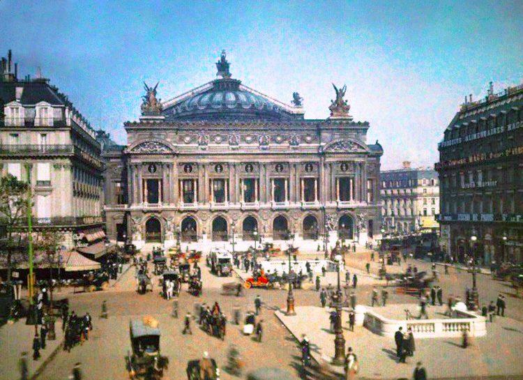 Operà di Parigi, foto a colori, inizio '900.