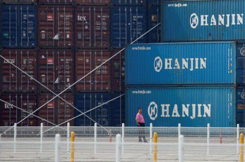 Container Hanjin pronti alla spedizione.