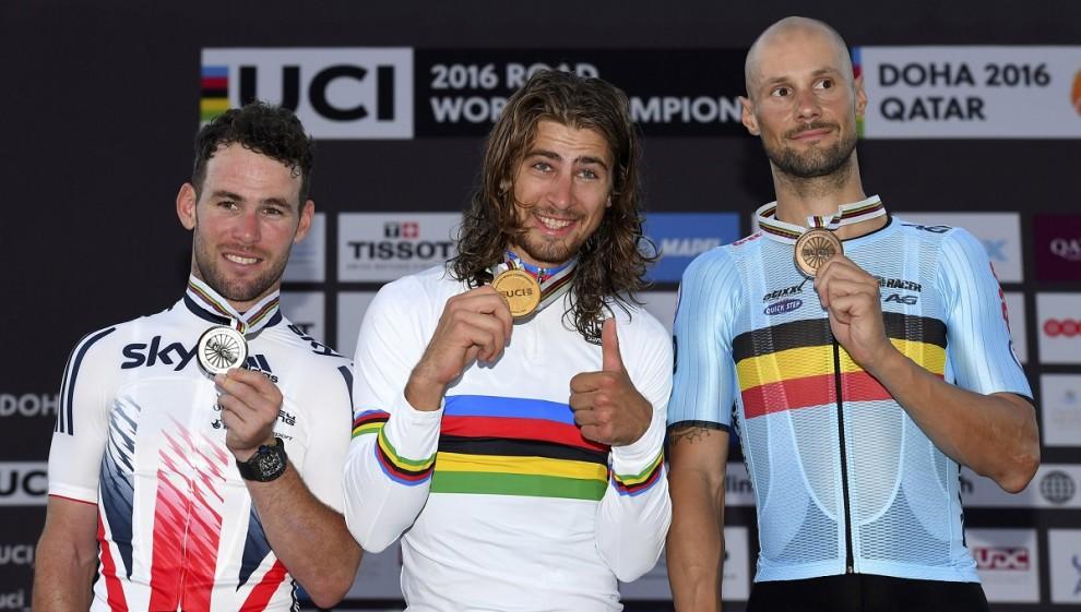 Il podio dei mondiali di ciclismo di Doha, 2016.