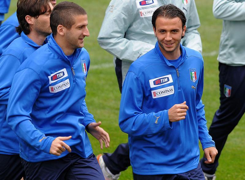 Alessandro Gamberini e Giampaolo Pazzini durante un allenamento a Coverciano, foto: Giacomo Morini