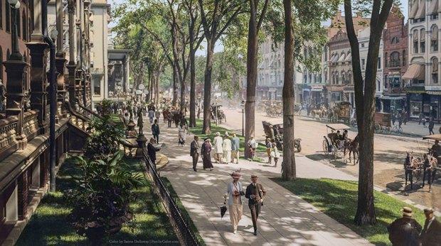 Il Corso di fronte al Grand Union Hotel di Saratoga Springs, foto a colori, inizi del '900.