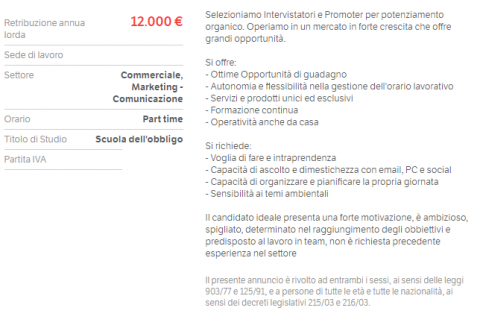 Offerta multi-level marketing