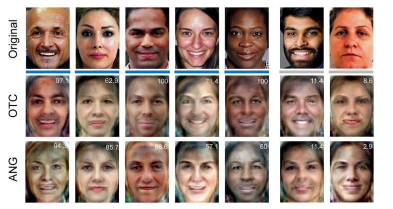 Didascalia: immagini ricostruite dall'algoritmo sulla base dell'attività cerebrale nel momento della percezione dello stimolo. Le due differenti versioni si riferiscono a due diverse aree del cervello prese in esame. Le 5 colonne di sinistra rappresentano le cinque ricostruzioni migliori, le 2 colonne di destra le peggiori.