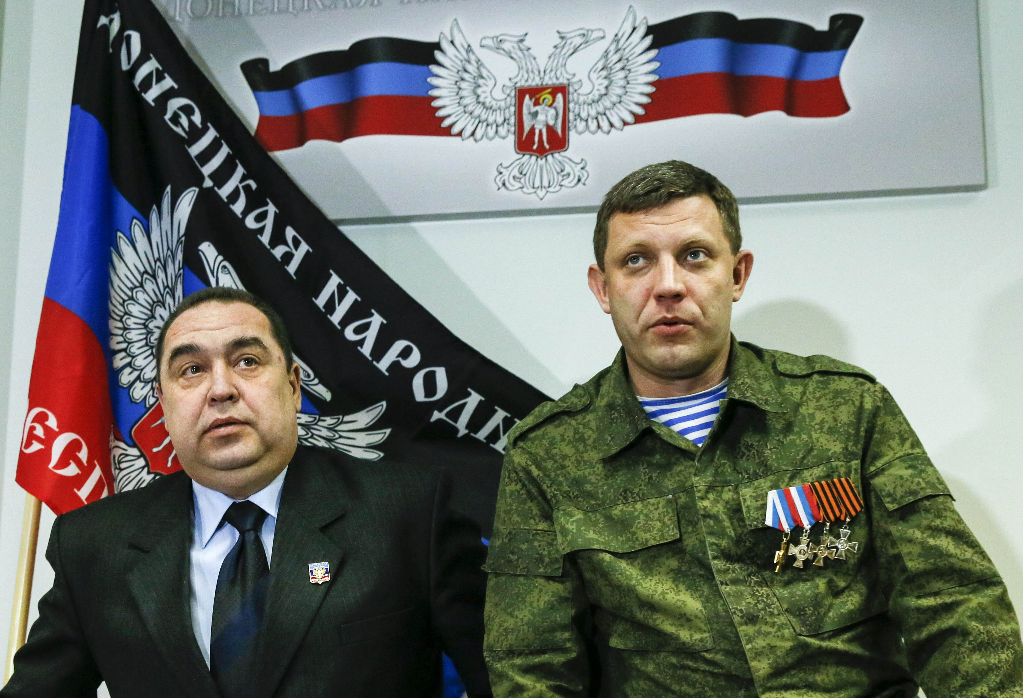 A sinistra Igor Plotnitsky, leader della Repubblica Popolare di Luhansk. A destra Alexander Zakharchenko, leader della Repubblica Popolare di Donetsk