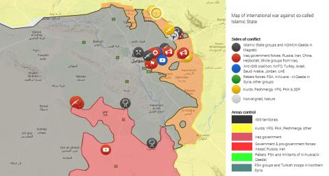 La situazione del conflitto iracheno attorno alla città di Mosul (liveuamap.com).
