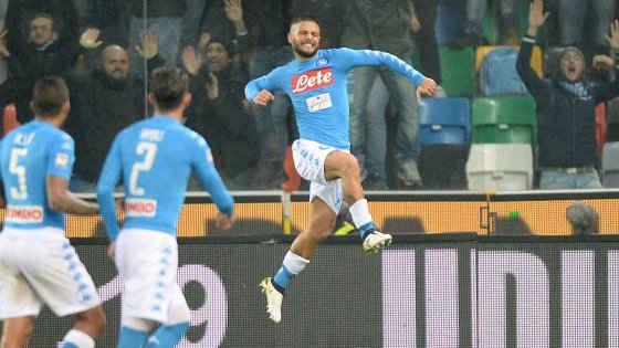 Serie A IMDI 13° turno: Lorenzo Insigne festeggia durante Udinese-Napoli