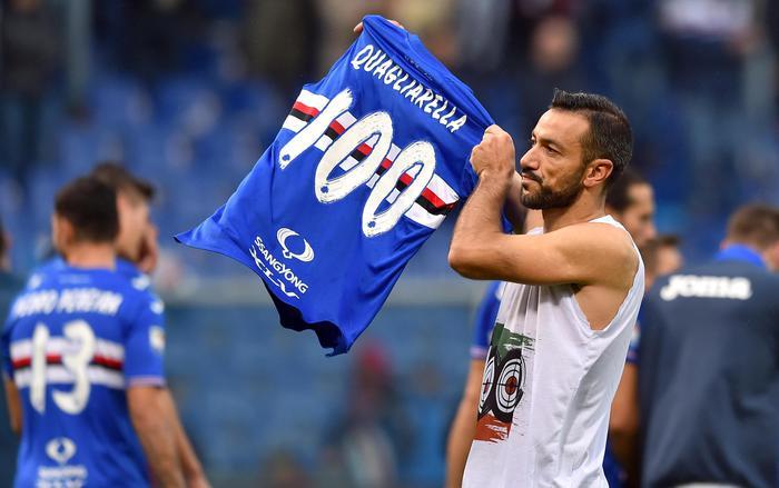 Serie A IMDI 13° turno: Fabio Quagliarella mostra la maglia dei 100 gol in Serie A
