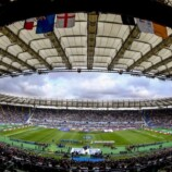 A view of the Stadio Olympico as the two teams line up for the National Anthems 14/2/2016