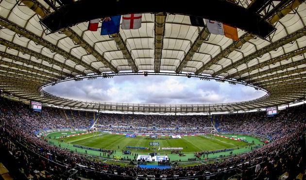 Il pienone dell'Olimpico di Roma per un match del 6 nazioni giocato dall'Italrugby contro l'Inghilterra