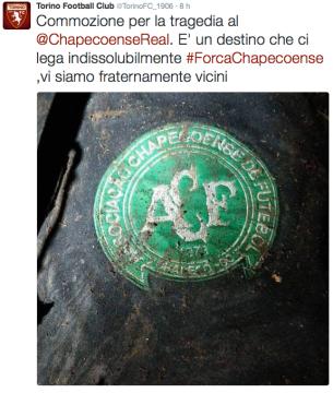 La solidarietà da parte del Torino verso la Chapecoense