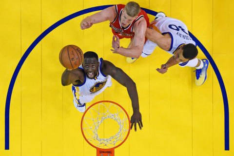 Golden State WarriorsÕ Draymond Green (23) goes up for a rebound in front of Portland Trail Blazers' Mason Plumlee (24) as Golden State WarriorsÕ Stephen Curry (30) guards him in the fourth quarter of Game 5 of the second round of the NBA Western Conference playoffs at Oracle Arena in Oakland, Calif., on Wednesday, May 11, 2016. Golden State defeated Portland 125-121. (Jose Carlos Fajardo/Bay Area News Group)