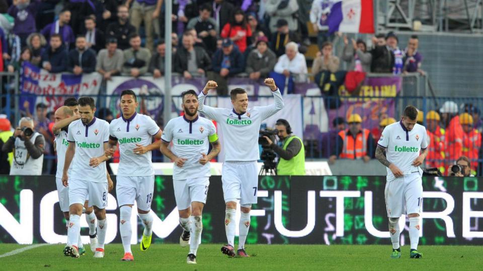 Serie A IMDI 13° turno: Josip Ilicic festeggia durante Empoli-Fiorentina, foto: lapresse