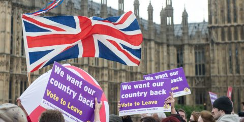 LONDON, ENGLAND - JUNE 15: Campaigners join Nigel Farage, leader of the UK Independence Party, in their support for the 'Leave' campaign for the upcoming EU Referendum aboard a boat on the River Thames on June 15, 2016 in London, England. Nigel Farage, leader of UKIP, is campaigning for the United Kingdom to leave the European Union in a referendum being held on June 23, 2016. (Photo by Michael Tubi/Corbis via Getty Images)