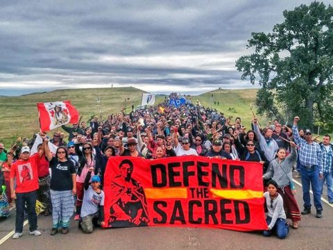 Manifestanti in marcia lo scorso 4 settembre. (Dallas Goldtooth)