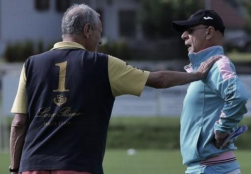 Maurizio Zamparini incontra Davide Ballardini durante un allenamento del Palermo