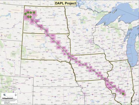 Il previsto percorso della Dakota Access Pipeline. (daplpipelinefacts.com)