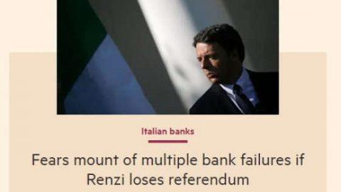 Il titolo del Financial Times sul rischio banche in Italia.