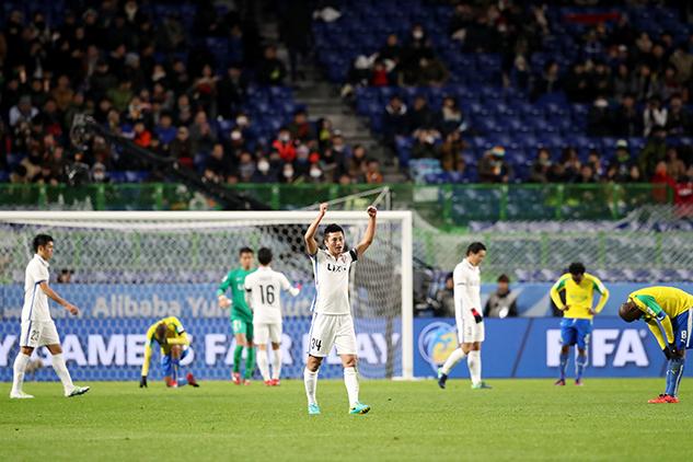 I Kashima Antlers esultano dopo il fischio finale della partita giocata contro i Mamelodi Sundowns