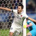 L'esultanza di Yuma Suzuki dei Kashima Antlers dopo aver segnato il gol del 3-0, foto