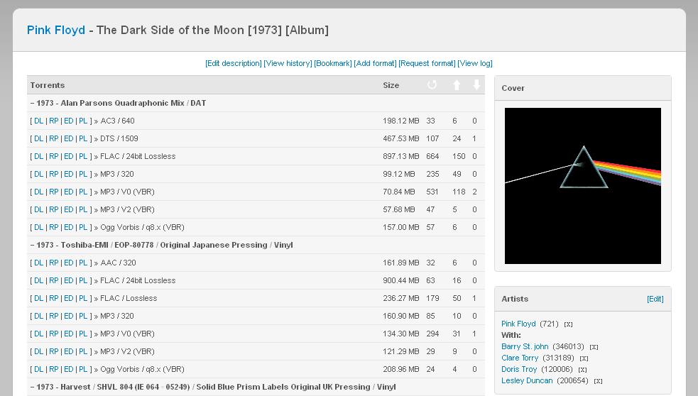 """Una schermata dal sito di WhatCD delle varie versioni di """"The Dark Side of The Moon"""" dei Pink Floyd"""