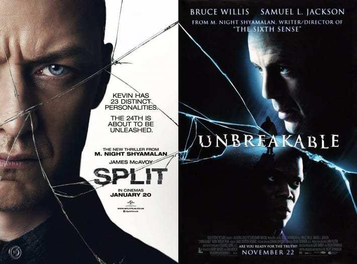 L'indizio sul collegamento tra Split e Unbreakable nelle locandine dei film.