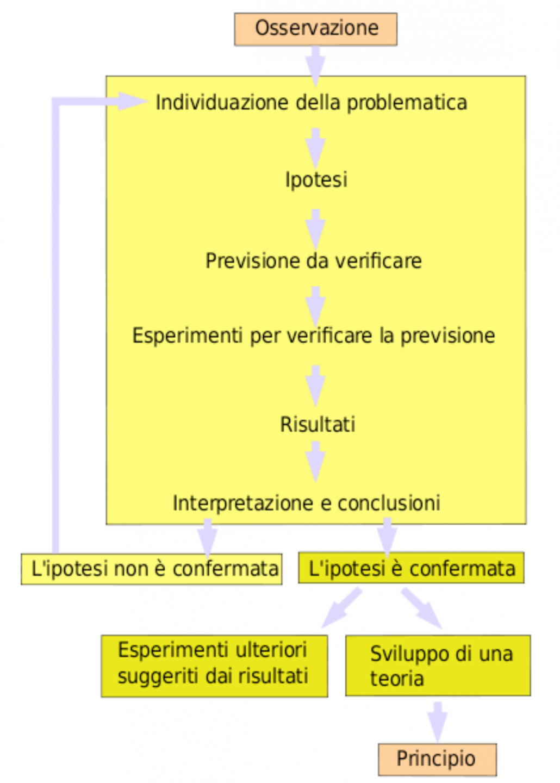 Uno schema del metodo scientifico, che illustra il processo dietro la scienza.